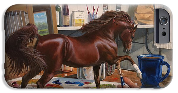 American Saddlebred iPhone Cases - Work In Progress Six iPhone Case by Jeanne Newton Schoborg