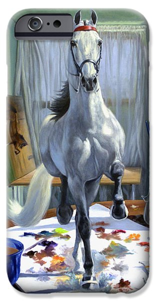Horses iPhone Cases - Work In Progress V iPhone Case by Jeanne Newton Schoborg