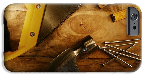 Hand Tool iPhone Cases - Work tools iPhone Case by Les Cunliffe