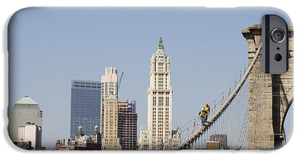 Terrorism iPhone Cases - Workers on Brooklyn Bridge in Manhattan iPhone Case by Patricia Hofmeester