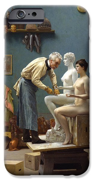 Working Artist iPhone Cases - Working in Marble iPhone Case by Jean-Leon Gerome