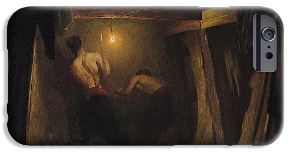 Worker iPhone Cases - Working On The Metro Under The Place De Letoile, 1899 Oil On Canvas iPhone Case by Gaston Brun