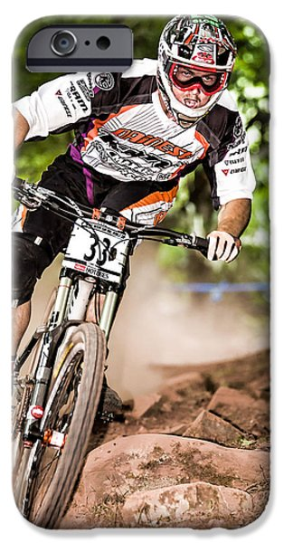 Racing Pyrography iPhone Cases - World Cup Mountain Bike Downhill Event iPhone Case by R Steven Diaz