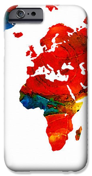 World Map 12 - Colorful Red Map by Sharon Cummings iPhone Case by Sharon Cummings
