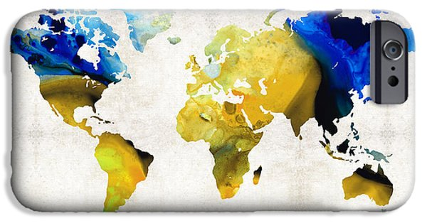 Decorating Mixed Media iPhone Cases - World Map 16 - Yellow And Blue Art By Sharon Cummings iPhone Case by Sharon Cummings