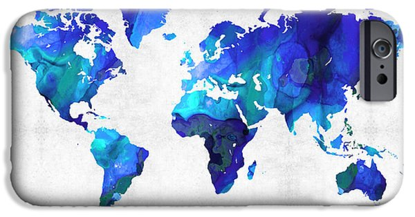 Decorating Mixed Media iPhone Cases - World Map 17 - Blue Art By Sharon Cummings iPhone Case by Sharon Cummings
