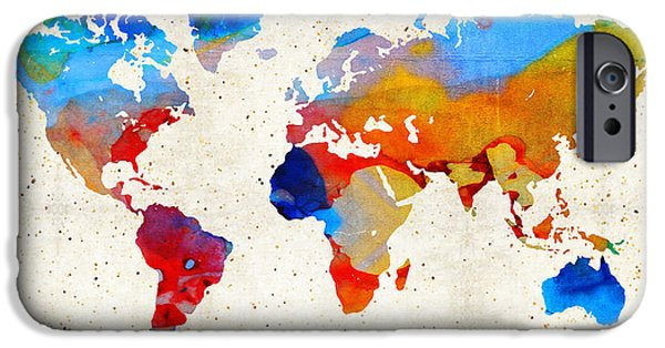 Decorating Mixed Media iPhone Cases - World Map 18 - Colorful Art By Sharon Cummings iPhone Case by Sharon Cummings