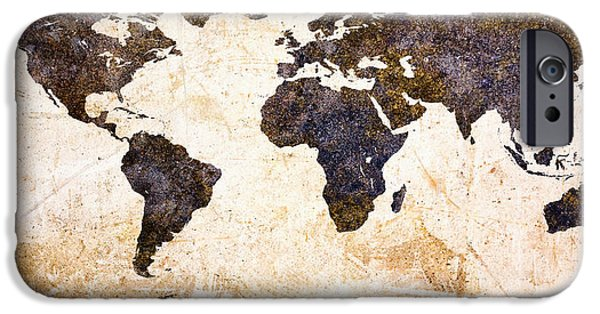 Rusted iPhone Cases - World Map Abstract iPhone Case by Bob Orsillo
