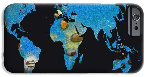 Constellations iPhone Cases - World Map and Draco Constellation iPhone Case by Augusta Stylianou
