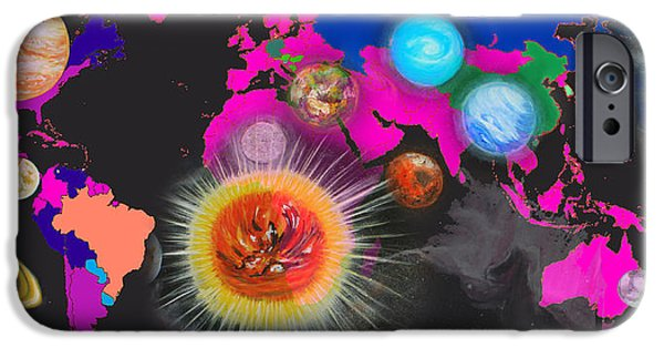 Planet Map iPhone Cases - World Map and Planets iPhone Case by Augusta Stylianou