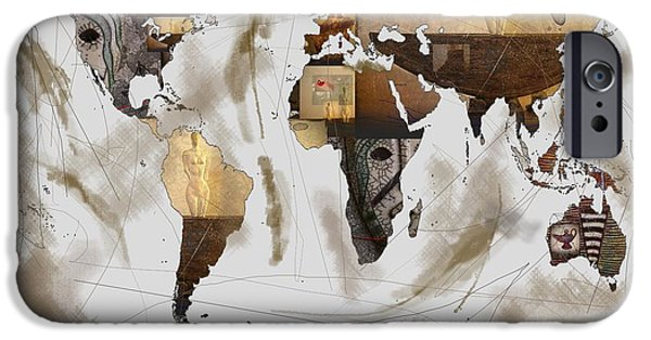 World Map Artefact iPhone Case by Andre Pillay