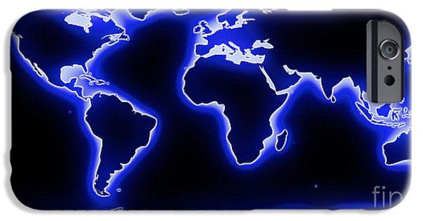 Pixelchimp Digital Art iPhone Cases - World Map Blue Glow iPhone Case by Pixel Chimp