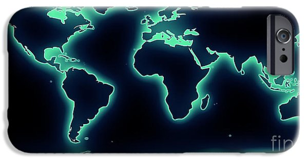 Pixelchimp Digital iPhone Cases - World Map Blue/Green Glow iPhone Case by Pixel Chimp