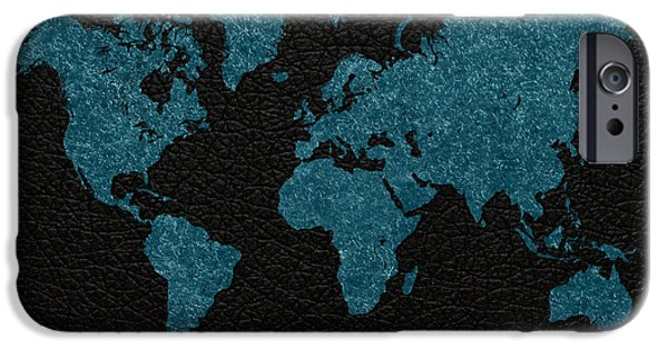 Fabric Mixed Media iPhone Cases - World Map Blue Vintage Fabric on Black Leather iPhone Case by Design Turnpike