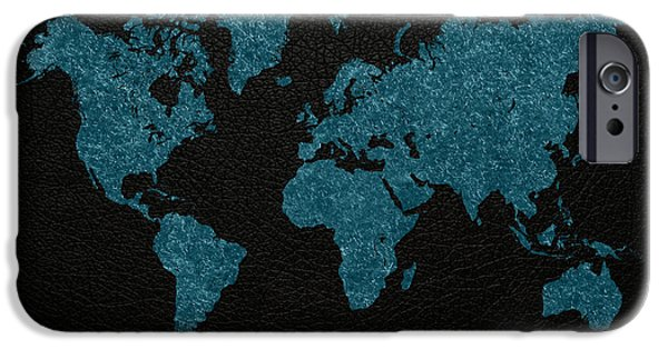 Fabric Mixed Media iPhone Cases - World Map Blue Vintage Fabric on Dark Leather iPhone Case by Design Turnpike