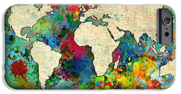 Abstract Digital iPhone Cases - World Map Colorful iPhone Case by Gary Grayson