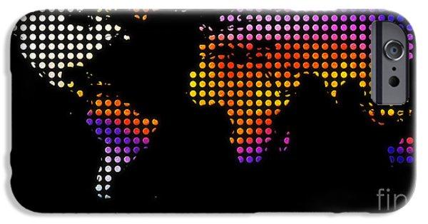 Pixelchimp Digital Art iPhone Cases - World Map Colourful Dots #2 iPhone Case by Pixel Chimp