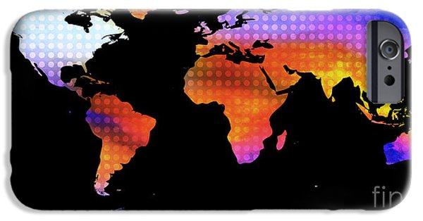 Pixelchimp Digital Art iPhone Cases - World Map Colourful Dots  iPhone Case by Pixel Chimp