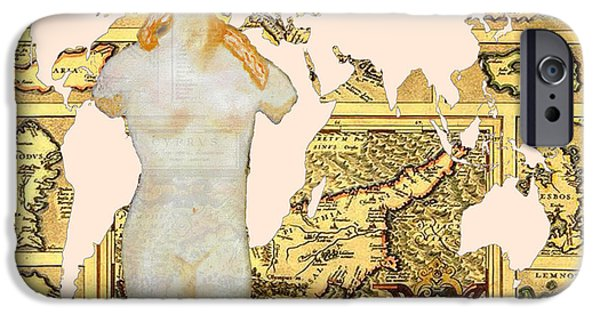 Old Map Digital iPhone Cases - World Map Cyprus and Aphrodite iPhone Case by Augusta Stylianou