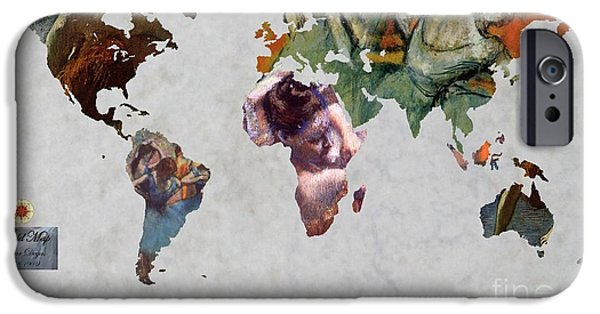 Ballet Dancers iPhone Cases - Degas 5  World Map iPhone Case by John Clark
