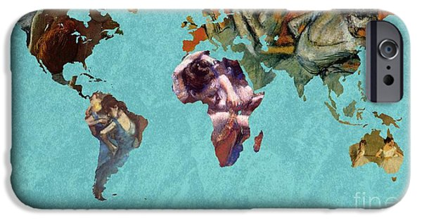 Bath Digital Art iPhone Cases - World Map Degas 2 iPhone Case by John Clark