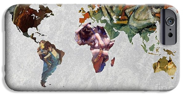 Ballet Dancers iPhone Cases - World Map   Degas 4 iPhone Case by John Clark