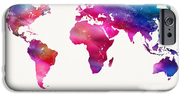 Spray Paint Mixed Media iPhone Cases - World Map Light  iPhone Case by Mike Maher