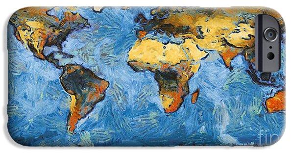 Pixelchimp Digital Art iPhone Cases - World Map Painterly iPhone Case by Pixel Chimp