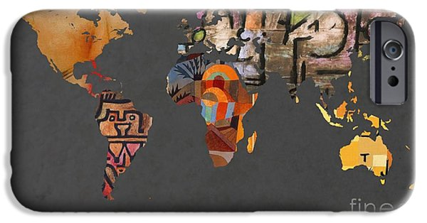 Pleasure Digital Art iPhone Cases - Paul Klee 1  World Map iPhone Case by John Clark