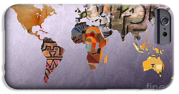 Pleasure Digital Art iPhone Cases - World Map  Paul Klee 4 iPhone Case by John Clark
