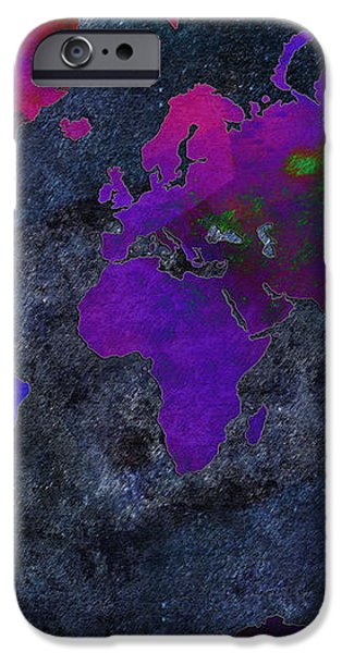 World Map - Purple Flip The Dark Night - Abstract - Digital Painting 2 iPhone Case by Andee Design