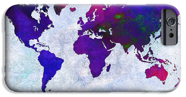 Abstract Digital iPhone Cases - World Map - Purple Flip The Light Of Day - Abstract - Digital Painting 2 iPhone Case by Andee Design
