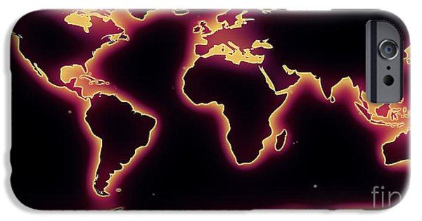 Pixelchimp Digital Art iPhone Cases - World Map Purple Glow iPhone Case by Pixel Chimp