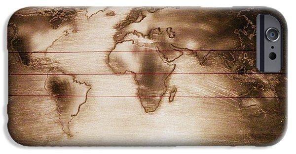 Tropics Pyrography iPhone Cases - World Map iPhone Case by Raluca Serdaru