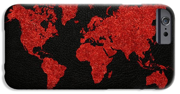 Fabric Mixed Media iPhone Cases - World Map Red Fabric on Dark Leather iPhone Case by Design Turnpike