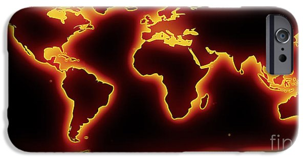 Pixelchimp Digital iPhone Cases - World Map Red Glow iPhone Case by Pixel Chimp