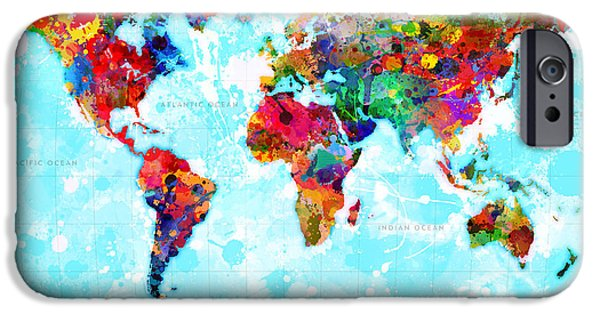 Earth Map Digital iPhone Cases - World Map Spattered Paint iPhone Case by Gary Grayson
