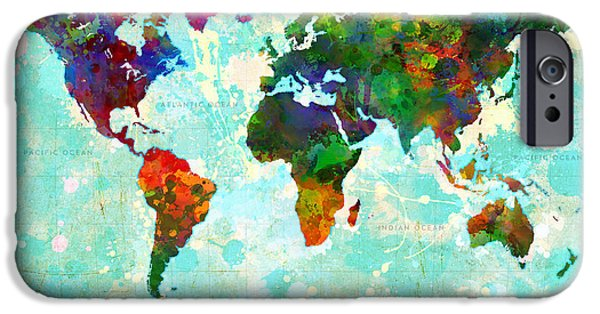 Abstract Digital Digital iPhone Cases - World Map Splatter design iPhone Case by Gary Grayson