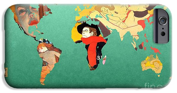 Illustrator iPhone Cases - Toulouse-Lautrec 1  World map iPhone Case by John Clark