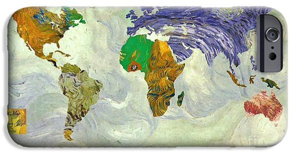 Arles iPhone Cases - World Map Van Gogh1 iPhone Case by John Clark