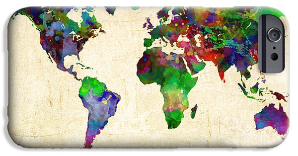 Gary Grayson iPhone Cases - World Map Watercolor iPhone Case by Gary Grayson