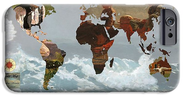 Winslow Homer iPhone Cases - World Map Winslow Homer 1 iPhone Case by John Clark