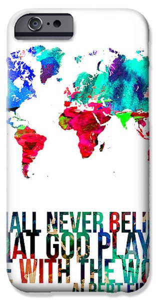 World Map Poster Digital Art iPhone Cases - World Map with a Quote 4 iPhone Case by Naxart Studio