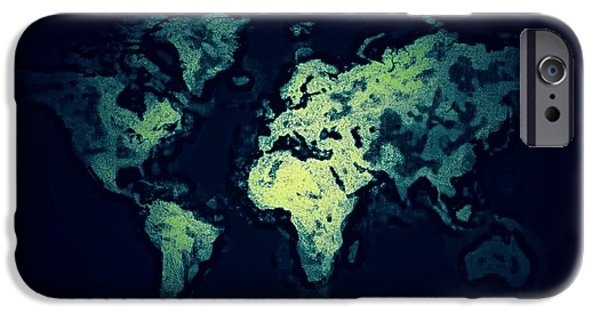 Decor Ceramics iPhone Cases - World Map6 iPhone Case by Michael James Greene