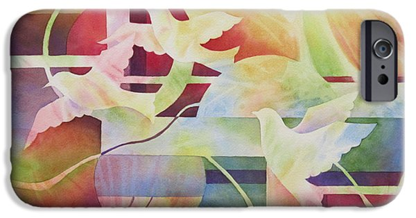 Sun Rays Paintings iPhone Cases - World Peace 2 iPhone Case by Deborah Ronglien