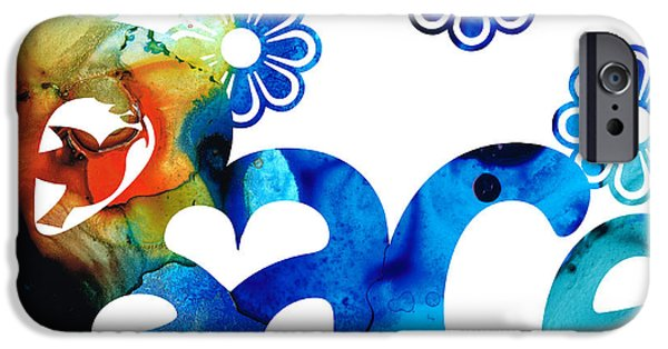 Signed Mixed Media iPhone Cases - World Peace 3 - Loving Art iPhone Case by Sharon Cummings