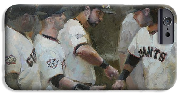 Baseball Art Paintings iPhone Cases - World Series Fist Bump iPhone Case by Darren Kerr