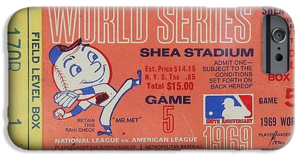 Shea Stadium iPhone Cases - WORLD SERIES TICKET Shea Stadium 1969 iPhone Case by Melinda Saminski