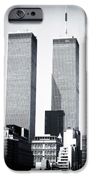 Twin Towers Nyc iPhone Cases - World Trade Center 1990s iPhone Case by John Rizzuto