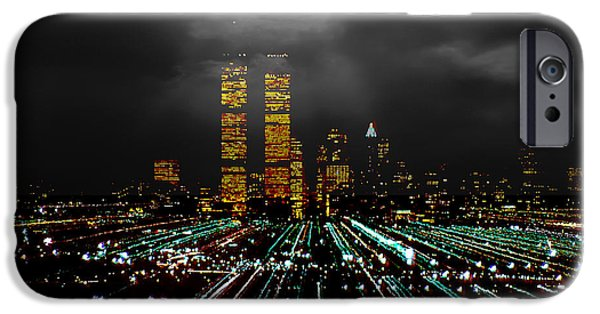 Twin Towers Nyc iPhone Cases - World Trade Center at Night 1980 iPhone Case by Kellice Swaggerty